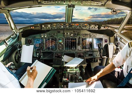 Cockpit at sundown