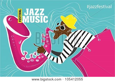 Jazz music festival, poster background template. Keyboard with music notes. Flyer Vector design. poster