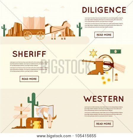 Wild west cowboys, stagecoach driven by gold, sheriff, crossroads desert with cactus and mountains, a chest of gold. Flat style vector illustration. poster