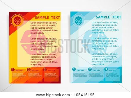 Gambling dice vector icon on abstract vector modern flyer brochure vector template. poster