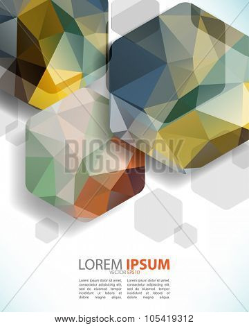 abstract geometric hexagon with triangle shapes inside multicolor shapes. eps10 vector