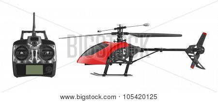 Remote controlled helicopter with controlling handset, isolated on white background