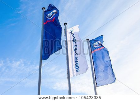 The Flags Of Official Dealer Datsun Over Blue Sky