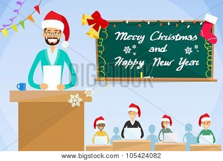 University Professor Lecture  New Year Christmas Holiday Hat Teacher College Class, Group of Student