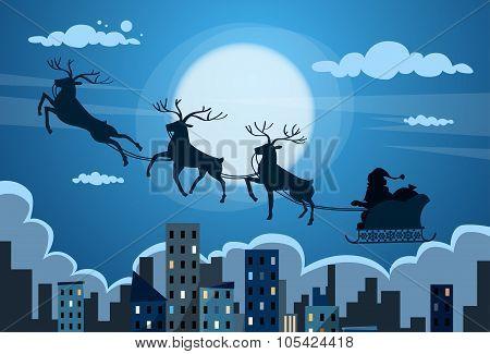 Santa Claus Sleigh Reindeer Fly Sky over City Skyscraper Night View Cityscape Snow Skyline Christmas