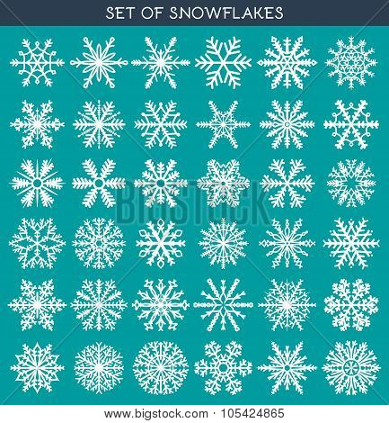 Set 36 white different snowflakes of handmade for design