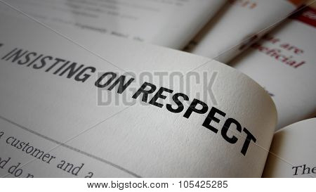 Insisting on respect word on a book. Business success concept poster