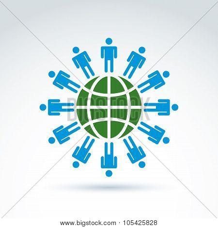 Green Earth And Mankind Symbolic Icon, Vector Conceptual Unusual Symbol For Your Design.