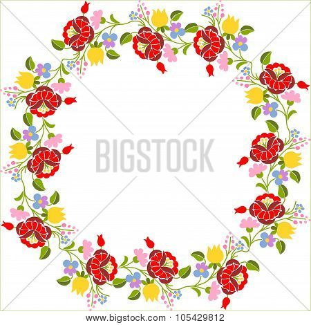 Traditional Hungarian embroidery pattern - page border poster