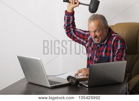 Angry Man Crashing Laptop