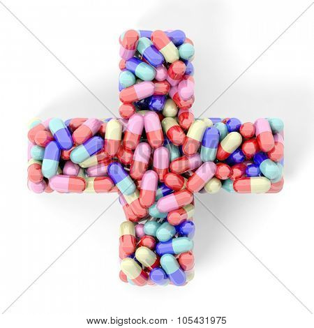 Colorful caplets in shape of medical cross, isolated on white background.