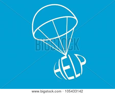 The word HELP being dropped on the end of a parachute poster