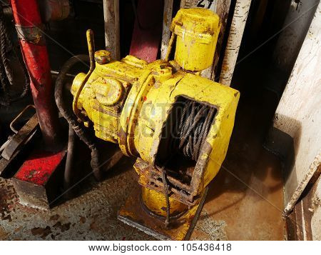 Old Air Winch (air Tugger) On The Rig Floor - Oil Field Equipment