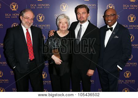 NEW YORK-OCT 15: (L-R) Vincent Misiano, Thelma Schoonmaker, Leonardo DiCaprio and DGA President Paris Barclay attend the DGA Honors Gala 2015 at the DGA Theater on October 15, 2015 in New York City.