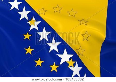 Bosnia And Herzegovina Potential Eu Member Concept Image - 3D Render Of A Waving Bosnian And Herzego