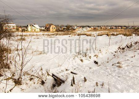 Winter village in snow