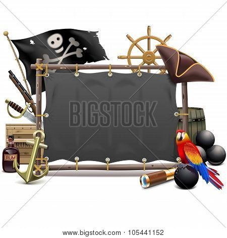 Vector Pirate Frame With Sail