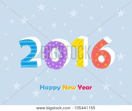 Happy New Year 2016 With Stars Over Blue Background