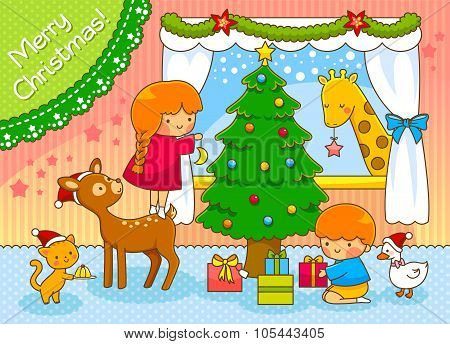 kids and animals celebrating Christmas