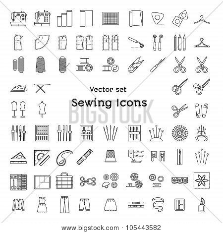 Sewing Line Icons Set. Tailoring Supplies And Accessories. Fabric, Needle, Thread, Scissors, Sewing