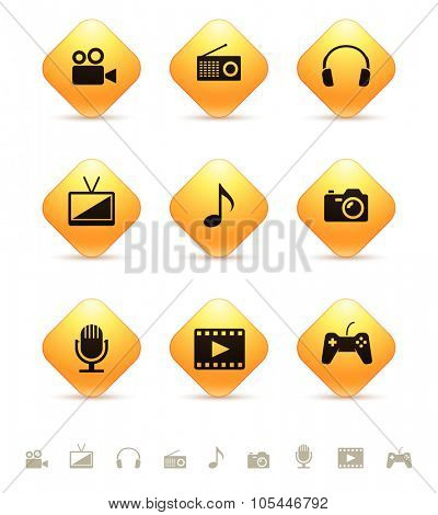 Multimedia icons on yellow rhombic buttons. Vector illustration