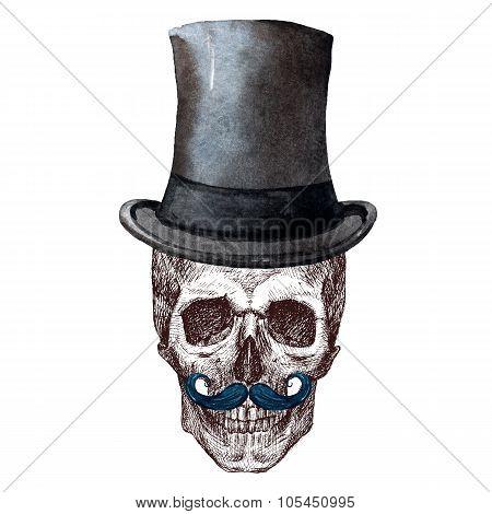 Raster Skull with hat