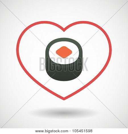 Line Heart Icon With A Piece Of Sushi Maki