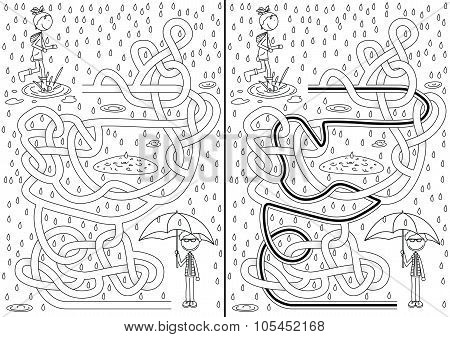 Rainy day maze for kids with a solution in black and white poster