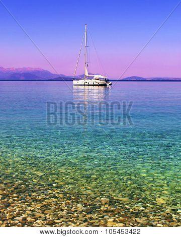 sailboat in the Ionian sea Greece