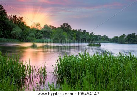 Beautiful colorful morning near the river, pink sunrise and mist and tranquil nature