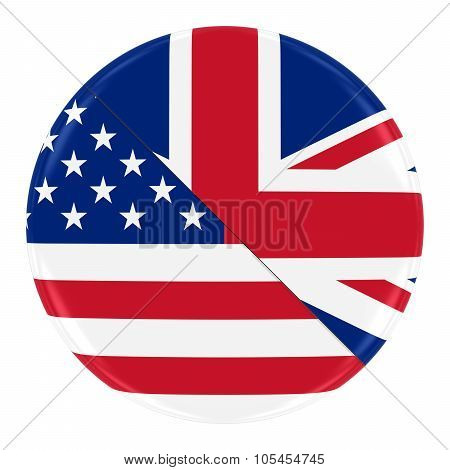 American/engish Relations Concept Image - Badge With Split Flags Of America And England