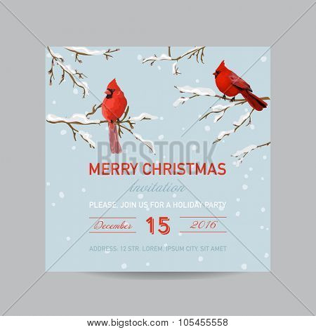 Christmas Invitation Card - Winter Birds in Watercolor Style - vector