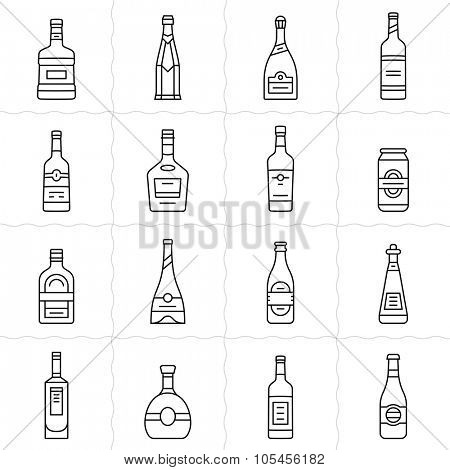 Different types of alcohol bottles. Simple outlined vector icon set of alcohol bottles. Linear style