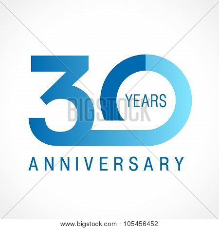 30 years old celebrating logotype. Colored happy anniversary 30 th template numbers. Greetings celebrates. Traditional connected form of ages. Special prize, % off. Card's or label's idea.