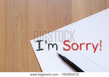 I'm Sorry Write On Notebook