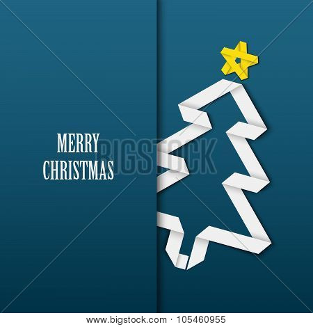 Christmas Card With Folded White Paper Tree On A Blue Background