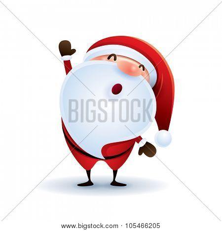 Santa Claus waving hand.