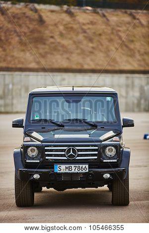 Kiev, Ukraine - OCTOBER 10, 2015: Mercedes Benz star experience. The interesting series of test driv