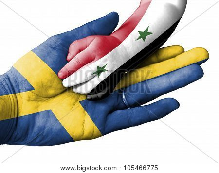 Adult Man Holding A Baby Hand With Sweden And Syria Flags Overlaid. Isolated On White