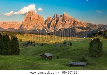 Seiser Alm with Langkofel Group in afternoon light, South Tyrol, Italy