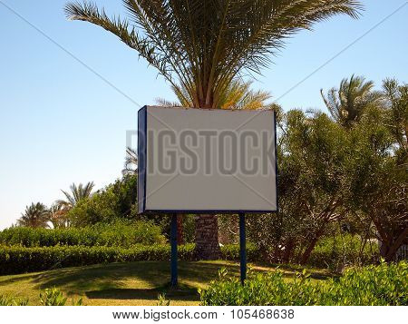 Billboard On The Background Of Greenery