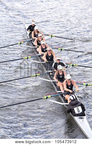 BOSTON - OCTOBER 18 2015: Saugatuck races in the Head of Charles Regatta Women's Youth Eights