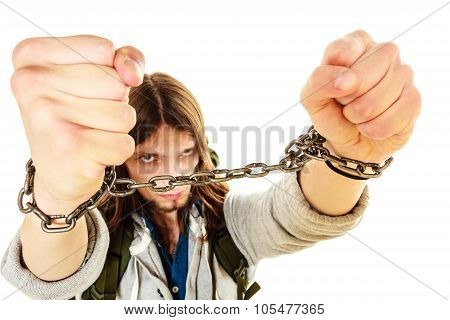 Young Man With Chained Hands.