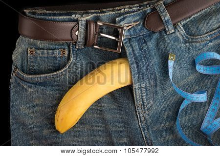 Big Banana Like The Penis, Centimeter And Men's Jeans