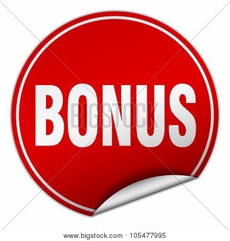bonus round red sticker isolated on white poster