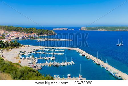view on city of Pylos and Navarino bay