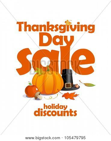 Thanksgiving day sale, holiday discounts design, rasterized version.