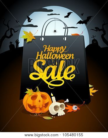 Halloween sale design with paper bag and festive attributes in a nightscape, rasterized version.