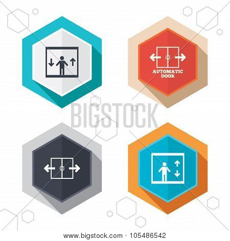Hexagon buttons. Automatic door icons. Elevator symbols. Auto open. Person symbol with up and down arrows. Labels with shadow. Vector poster