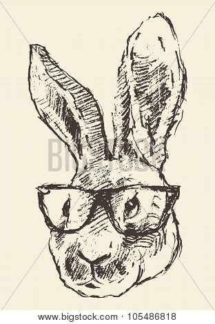 Rabbit head hipster glasses hand drawn sketch